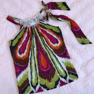 TRINA TURK Silk Colorful Tie Neck Sleeveless Tank